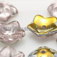 捷克花形小喇叭珠10mm-玫瑰淡粉金銀混色-10個
