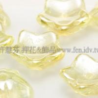 捷克花形小喇叭珠10mm-珠光香檳黃-10個