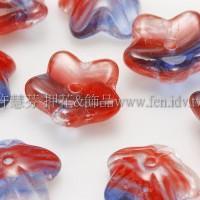 捷克花形小喇叭珠10mm-紅-寶藍-透明混合色-10個