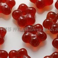 捷克五瓣花朵珠7mm泰國紅寶石紅-20個