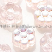 捷克六瓣花朵珠4x8mm閃亮珠光玫瑰淡粉色-20個