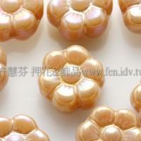 捷克六瓣花朵珠4x8mm珠光褐金色-20個