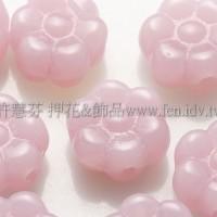 捷克六瓣花朵珠4x8mm柔嫩粉白玫瑰色-20個