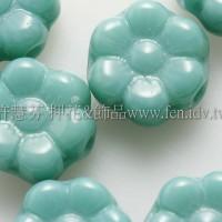 捷克六瓣花朵珠4x8mm青瓷藍綠色-20個