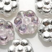 捷克六瓣花朵珠4x8mm銀彩亮面x透明紫紅雙面色-20個