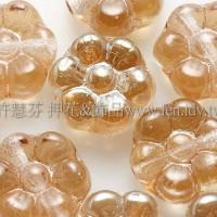 捷克六瓣花朵珠4x8mm珠光蜂蜜黃-20個