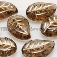 9x12mm捷克菩提葉形珠-金線咖啡色-20個