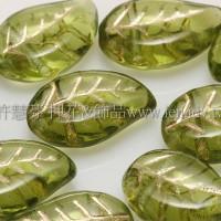 9x12mm捷克菩提葉形珠-金線草綠色-20個