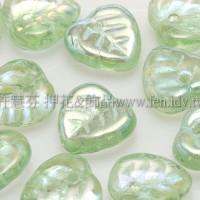 10X10mm捷克愛心葉形珠-淺檸檬綠-20個