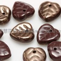 10X10mm捷克愛心葉形珠-紅椰褐-可可金雙面色-20個