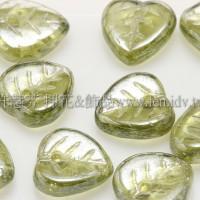 10X10mm捷克愛心葉形珠-珠光明綠色-20個