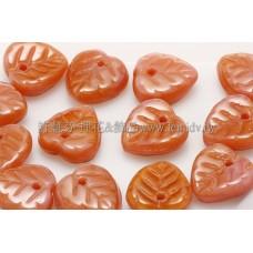 10X10mm捷克愛心葉形珠-珊瑚紅-粉紅漸層混合色-20個
