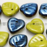 10X10mm捷克愛心葉形珠-黃綠-珠光藍寶石雙色-20個