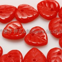 10X10mm捷克愛心葉形珠-豔紅色-20個