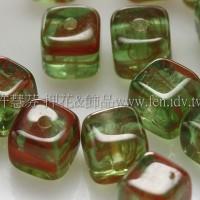 捷克方形珠5mm水草條紋-葉綠-果醬紅漸層混合-20個