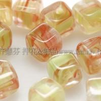 捷克方形珠5mm水草條紋-嫩綠-紅漸層混合-20個