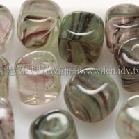 捷克方形珠5mm水草條紋-翠綠-黑漸層混合-20個