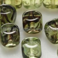 捷克方形珠5mm水草條紋-草綠-黑漸層混合-20個
