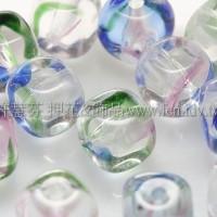 捷克方形珠5mm桃紅-藍-綠-透明漸層混合色-20個