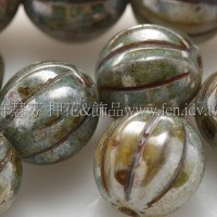 捷克南瓜珠8mm大理石紋-灰軍綠色-10個