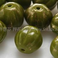 捷克南瓜珠8mm金砂紋-葉綠色-10個