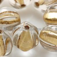 捷克南瓜珠8mm金線紋-水晶色-10個