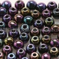 捷克圓形珠3mm紫-綠-茶金混合珠-50個