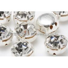 捷克四孔爪鑽彩珠7mm透明銀色
