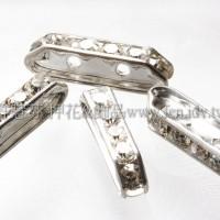 兩孔水鑽長形隔珠6*21mm透明銀色