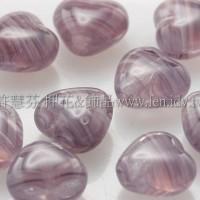 6X6mm捷克小愛心形珠-透明紫-線條紅紫-50個