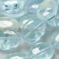 12*10mm橢圓形珠-冰晶光亮藍色