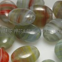 6*8扁橢圓形珠-水波紋-岩灰綠-20個