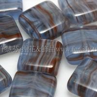 9mm方塊形珠-水波紋-岩灰藍色