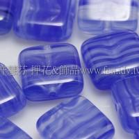 9mm方塊形珠-水波紋-藍色