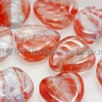9*9小愛心葉形珠-紅色