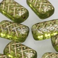 捷克綜合珠-13-7mm草綠鑲金