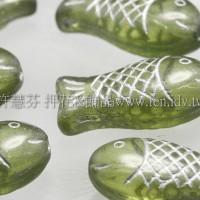 捷克綜合珠-20-7mm翠綠橄欖鑲白