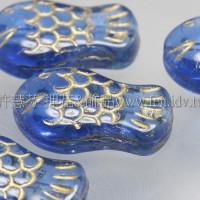 捷克綜合珠19-12mm-透明天藍鑲金