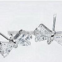 晶鑽鋯石蝴蝶結耳針正白附後束-10*6mm-1對