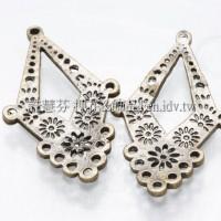 菱形鏤空雕花-耳環配件青古美-2個