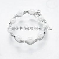 花邊奶油珠環-連接配件正白白