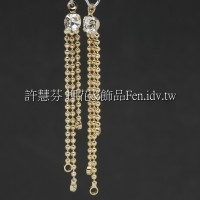 三線珠鍊晶鑽-耳環配件-43mm-4個