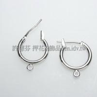 圓形銀彩耳針夾14x16mm-2對