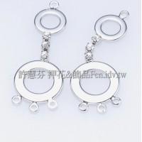 普普風精緻水鑽耳環-連接配件正白