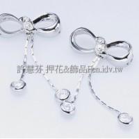 水鑽蝴蝶結-項鍊連接配件正白