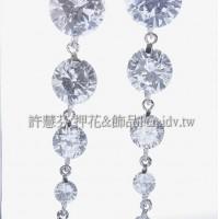 晶鑽閃亮圓形鋯石鍊-連接墜飾正白