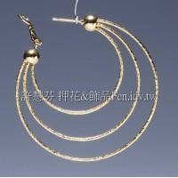 噴沙圓形耳環-50mm-1對