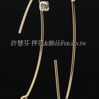 圓弧線晶鑽修長耳勾-3*40mm-2對