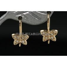 水鑽蝴蝶亮麗耳針-8*15mm2個