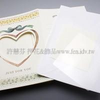 英國進口紙彩繪相框4折卡(米色,心型)